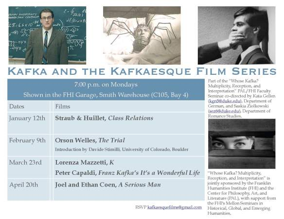 Kafka and Kafkaesque film series Spring